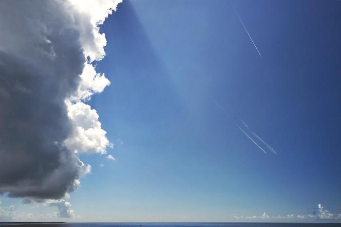 Clouds and Contrails, Caswell Beach, Oak Island, North Carolina