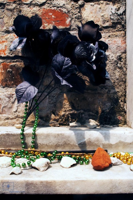 Black Flowers and Party Beads, St. Louis Cemetery No 1, New Orleans