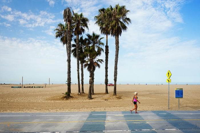 Jogger In Pink at the Beach, Santa Monica, California