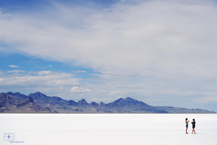Two Women Talking on Bonneville Salt Flats, Wendover, Utah
