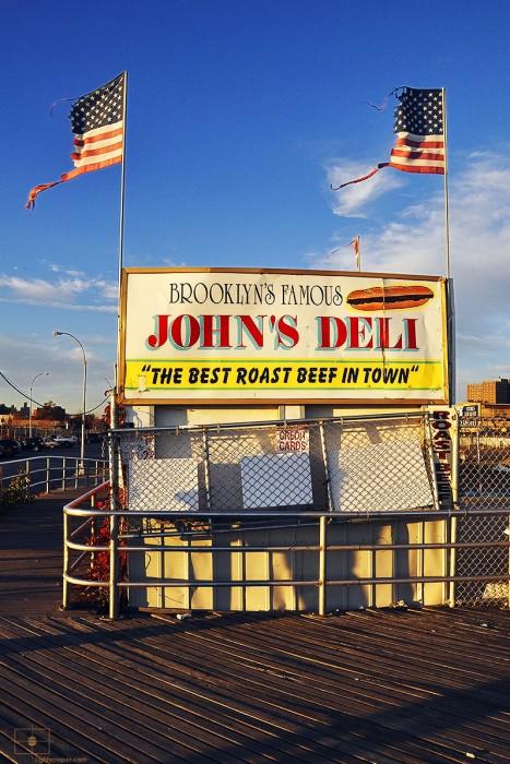 John's Deli, Boardwalk, and Flags, Coney Island, Brooklyn