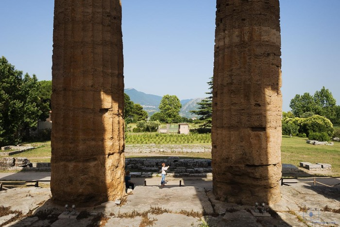 Woman Taking Photograph by the Temple of Hera, Paestum, Italy