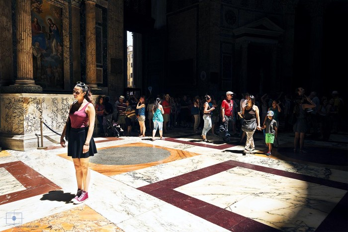 Woman Illuminated by the Oculus, Pantheon, Rome, Italy