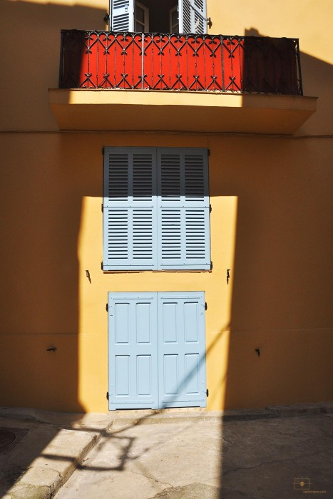 Red Balcony with Blue Shutters, Antibes, France