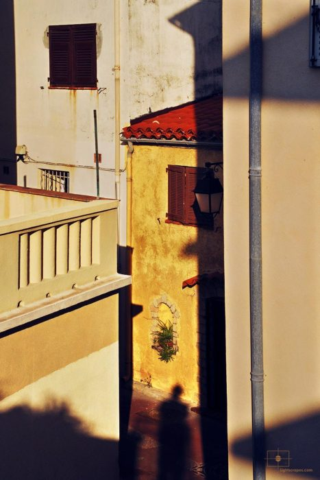 Yellow Walls with Red Tile Roof at Sunrise, Antibes, France