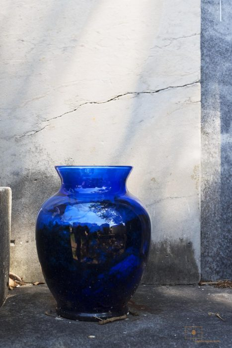 Blue Glass Vase, Lafayette Cemetery No 1, New Orleans