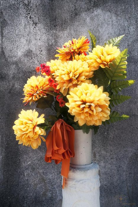Yellow Chrysanthemums and Orange Ribbon, Lafayette Cemetery No 1, New Orleans, Louisiana