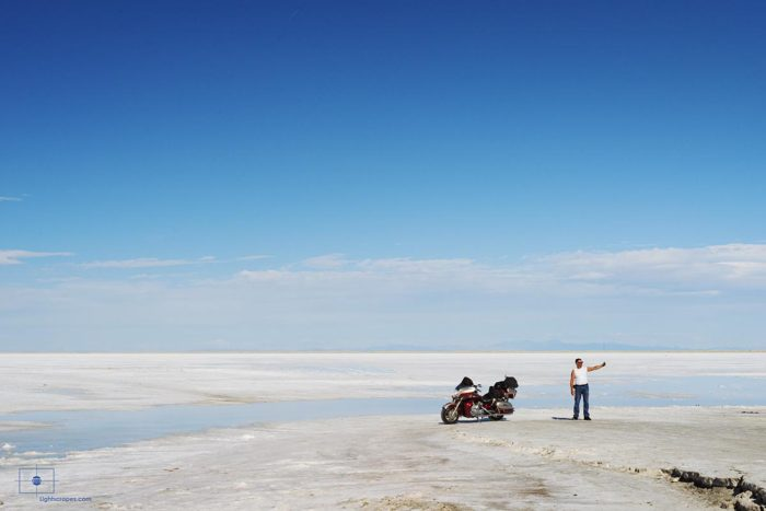 Man Taking Selfie with Motorcycle at Bonneville Salt Flats, Wendover, Utah