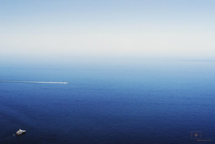 Yacht and Speedboat on the Gulf of Salerno from Le Tese, Positano, Italy