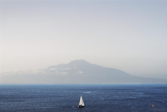 Sailboat and Mount Vesuvius, Bay of Naples, Sorrento, Italy