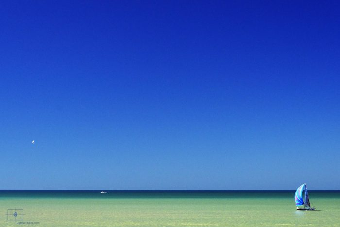Sailboat with Blue Spinnaker on the Gulf of Mexico, Naples, Florida