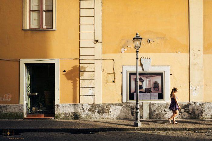 Woman at Sunset on Sorrento Street, Sorrento, Italy
