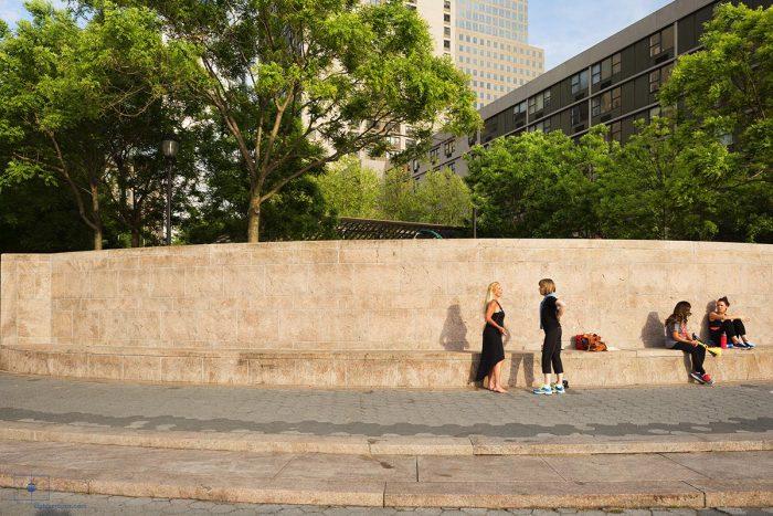 Women Talking by Wall, Hudson River Esplanade, New York City