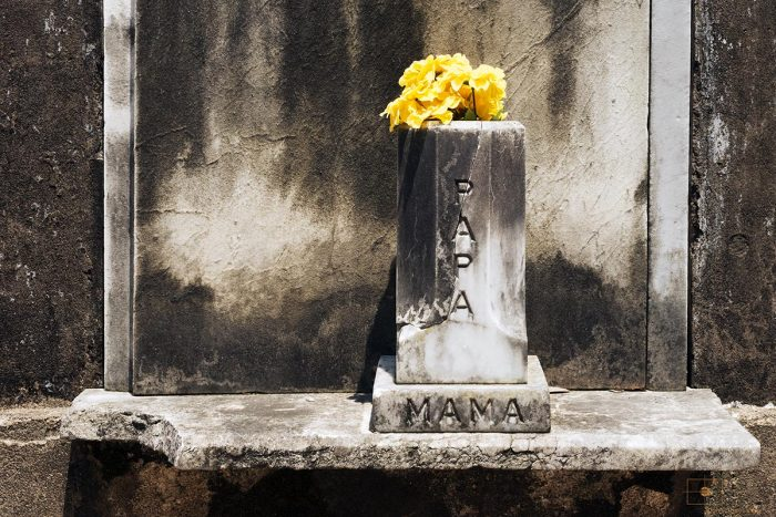 Yellow Marigolds in Marble Vase with Papa and Mama Inscribed, Lafayette Cemetery No 1, New Orleans