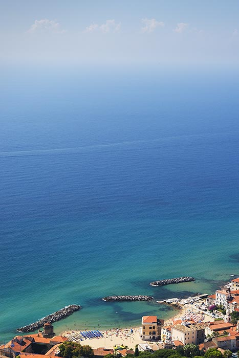 View of Santa Maria Castellabate and the Gulf of Salerno from Castellabate, Italy