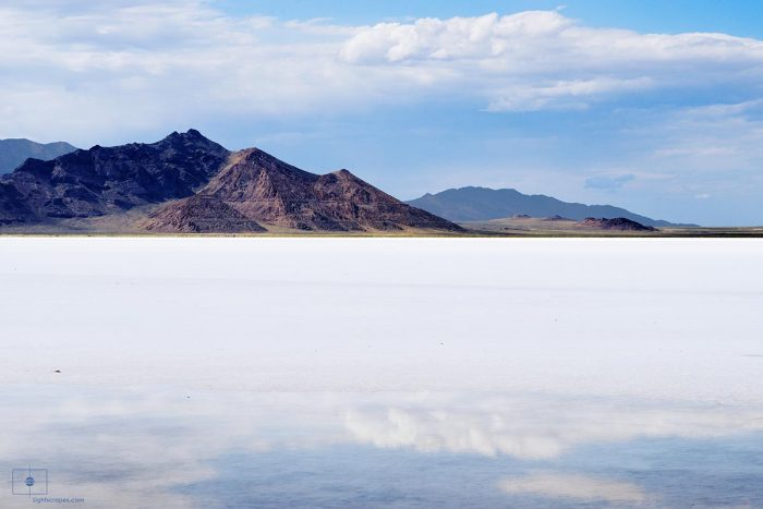 Reflection in Brine Pool in the Bonneville Salt Flats with a View of Tetzlaff Peak, Wendover, Utah