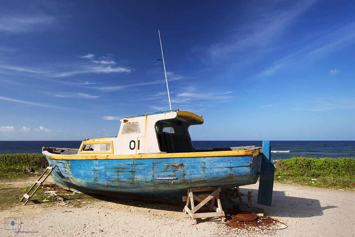 Bajan Fishing Boat 01 and the Atlantic Ocean, Bathsheba, Barbados