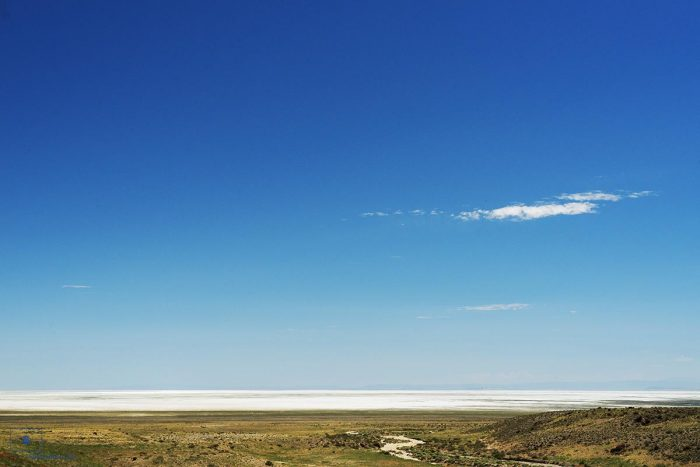 Blue Lake with Wetlands and the Bonneville Salt Flats, Wendover, Utah