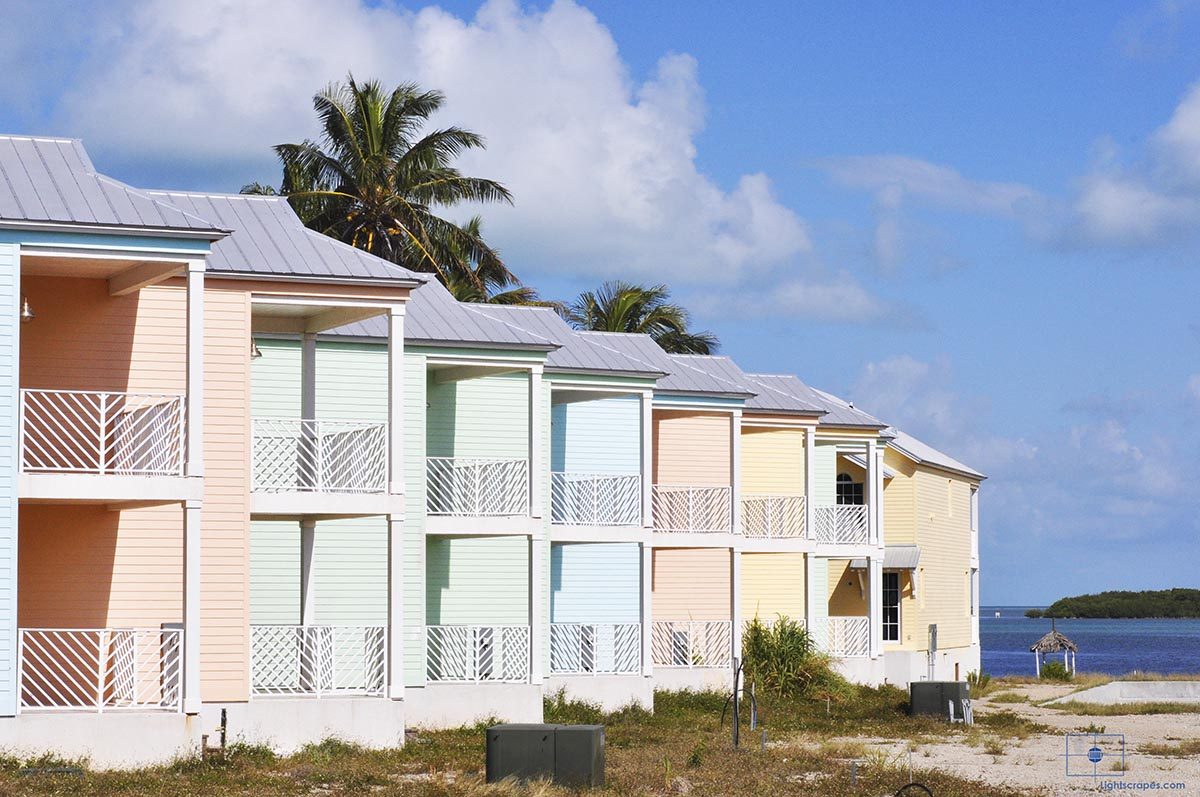 Abandoned Worksite with Pastel Houses on Lower Matecumbe Key, Islamorada, Florida
