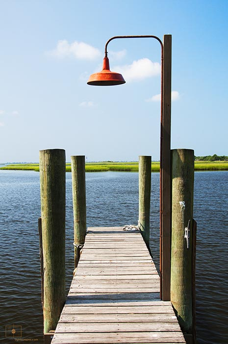 Dock and Red Lamp on the Mouth of the Cape Fear River, Southport, North Carolina